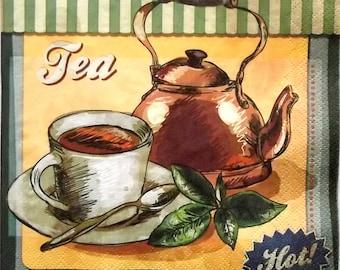 Set of 3 pcs 3-ply ''Tea time'' retro paper napkins for Decoupage or collectibles 33x33 cm, Decopatch napkins
