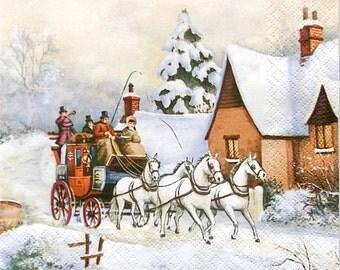 Decoupage paper napkins ''Winter'' set of 2 pcs 3-ply 33x33cm, Horse carriage napkins, Scrapbooking, Tissue paper, Servetten