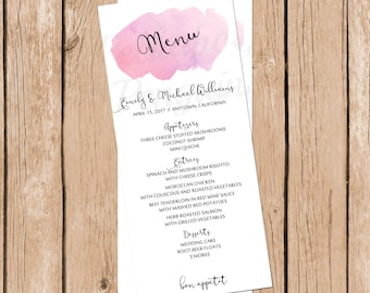 Rustic Wedding Menu, Watercolor Wedding Menu, Printable Wedding Menu, Pink Wedding, Wedding Menu Cards, Customized Wedding Menu, Digital
