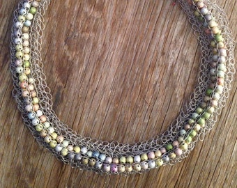 Pearl One - Knitted Statement Necklace