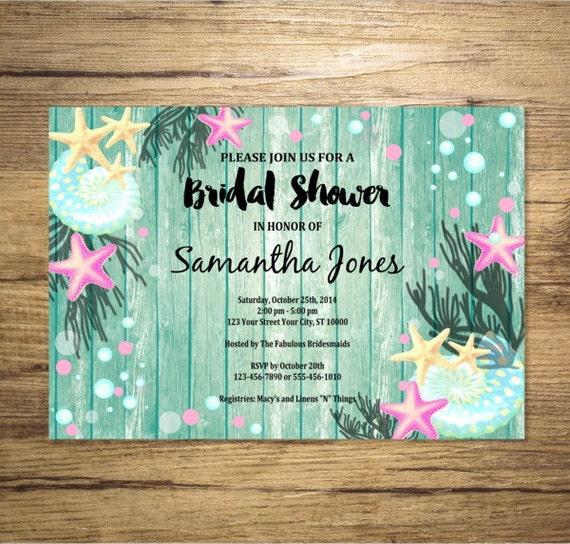 Beach bridal shower invitation sea shells and starfish under the il570xn filmwisefo