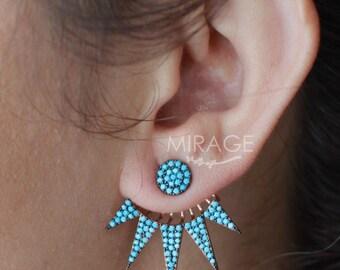 Turquoise Ear Jackets / Double Sided Earrings / Front Back Earrings / Spike Ear Jackets / Pair