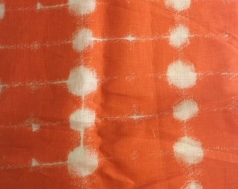 "Marimekko ""Pisara"" linen fabric, orange, remnant"