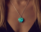 Small Aqua Heart Necklace - Jewelry - Flower Girl Gift - Turquoise Necklace - Nurse Gift - Glow in the Dark Jewelry - Gift for Women