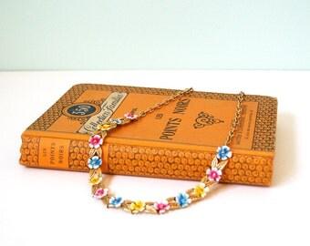 Colorful flower necklace, vintage, elegant, classic, hippie