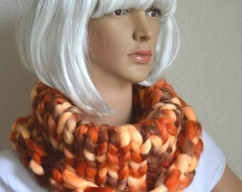 Hand knitted chunky women's snood scarf