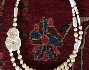 Vintage white enamel, double-strand bead necklace with gorgeous flower, statement piece