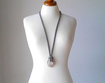Long necklace with pendant silver lariat necklace minimal necklace lariat necklace gray lariat necklace y necklace long pendant necklace