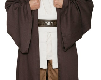 Star Wars Obi-Wan Kenobi Jedi Replica Costume Body Tunic with Replica Dark Brown Jedi Robe - JR 1438