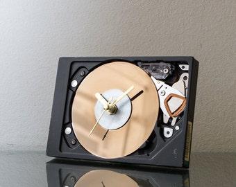 Modern Clock, Boyfriend Gift, Hard Drive Clock, Unique Small Desk Clock, Industrial Clock, Unique Gift, Mens Gift, Husband Gift, Dad Gift