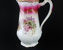 Chocolate Pot, Three Crowns China, Numbered Signed, Edwardian Floral China Serving Pitcher, German Porcelain