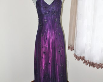 Purple Beaded Maxi Gown by Morgan and Co Size 7 Evening Gown Formal Dress, Halter Shimmer