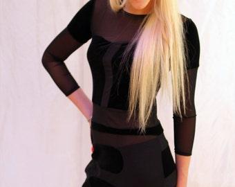 Concept event dress, black velvet inlines
