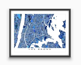 The Bronx Map, Bronx New York City Art Print, NYC Wall Decor
