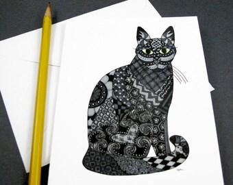 Black Cat Stationery Set - Set of 8 Blank Inside Card Set - Black Cat Halloween notecards