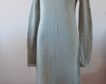 Sage Green 1980's Lambswool Angora Blend Knit Sweater Dress by Dividends Size 12/14 M-834