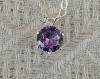 Alexandrite Solitaire Necklace, Alexandrite 8mm Pendant, Alexandrite & Sterling Silver Necklace, June Birthstone, Lab Created Alexandrite