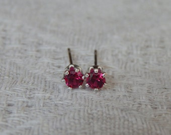 Ruby 3mm Studs, Ruby Stud Earrings, Tiny Ruby Studs, Ruby Posts, Ruby Post Earrings, Petite Ruby Studs, July Birthstone, Lab Created Ruby