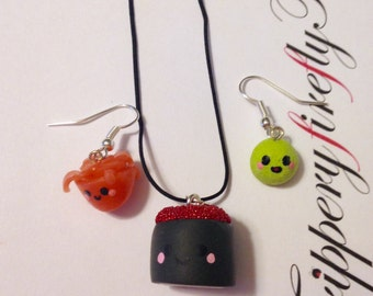 Kawaii Sushi Maki Necklace & Earrings Set - Tobiko (Flying Fish Roe)