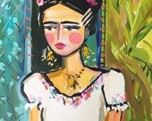 Abstract Frida Painting, large canvas, 20x24, woman portrait