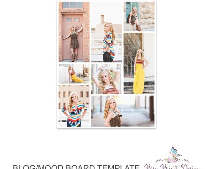 Blog Board & Mood Board - Collage Template - 8.5x11 - Social Media Collage Template - Digital Storyboard - Instant Download - BMB09