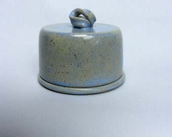Blue Stoneware Butter Keeper With Lid