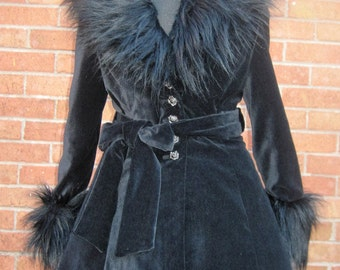 Vamp Faux Fur Trimmed Velvet Coat