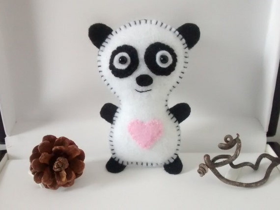 Items similar to felt panda bear felt ornament party for Panda bear decor