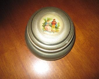 Vintage vanity powder puff music box