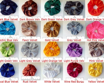 Velvet Hair Scrunchies -Ponytail Holder Hair Accessories - Choose your shade of scrunchie hair band