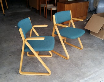 Vintage 1970's Stow Davis Plywood Triangle Chairs Mid Century Modern Original Upholstery Molded Frames Excellent Condition MCM