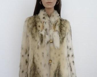 Veste/manteau vintage 70's fausse fourrure taille 38 / uk 10 / us 6