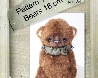 Pattern of a small teddy bear. 7 inches (18cm) tall.