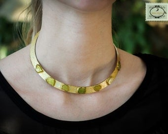 torque necklace, khaki small glasses on silver metal, gilded by hand,