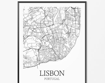 LISBON PORTUGAL Art PRINTS Print From Original Watercolor - Portugal map to print