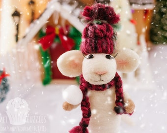 Bianca the Needle Felted Christmas Mouse with Snowball