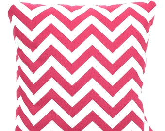 Pink Chevron Pillows, Decorative Throw Pillows, Cushion Covers, Hot Pink White Zig Zag, Couch Pillow, Euro Sham, One or More All Sizes