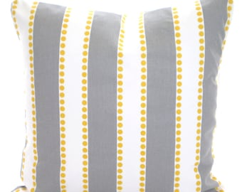 Gray Yellow Throw Pillow Covers, Gray Stripe Pillow, Cushions, Grey Yellow White Lulu Couch Pillows, Throw Pillow One or More All Sizes