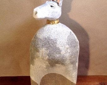 Donkey,folk art,horse,animal,folkart,ceramic,signed,farm animal,art,collectible