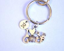 Golf Keychain, gift for dad, gold Key Ring, i love golf, Golf Charm, Golf Key chain, Golf Jewelry, Golf Gifts, Golfer Charm, golfer gift
