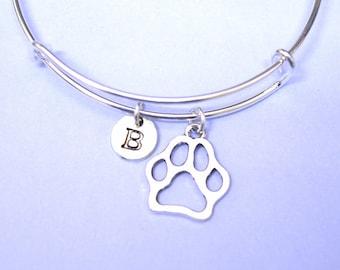 Paw Print Bangle, Dog Paw Bracelet, Dog Bracelet, Personalized Dog Charm Bracelet, Dog Gift, Dog Loss Gift, Pet Loss Gift, Petloss Bracelet