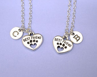 Best friend Necklace Set, Best Friends Forever Necklace, Friendship Necklace set, Best Friends gift,dog paws Necklace, bff necklace set