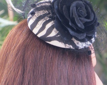 Fascinator, Black and White with Flower and Feathers. Races Headwear, Headpiece.