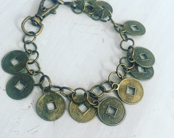 Japanese coin inspired bracelet