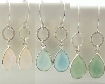 Beautiful Drop Earrings-Sterling Silver 925-Aventurine-Chalcedony-Pink quartz-White Gold Plated- Black Rhodium