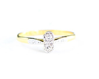 Edwardian twin diamond ring in 18 carat gold and platinum for her