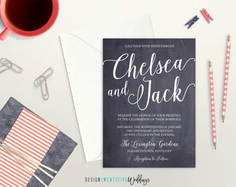 Chalkboard Wedding Invitation Suite // 5x7 Invitation // Choose Your Set! // The Chelsea Collection
