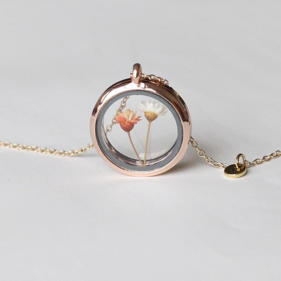 Rose Gold Real Flower Necklace