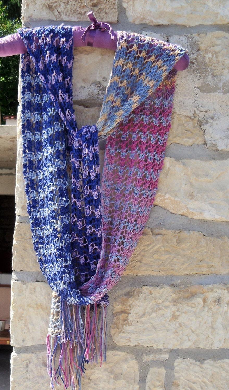 Knitting Pattern Cotton Scarf : Knit cotton scarf Multi knit scarf Boho scarf Lacy