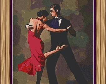 tango dance cross stitch pattern